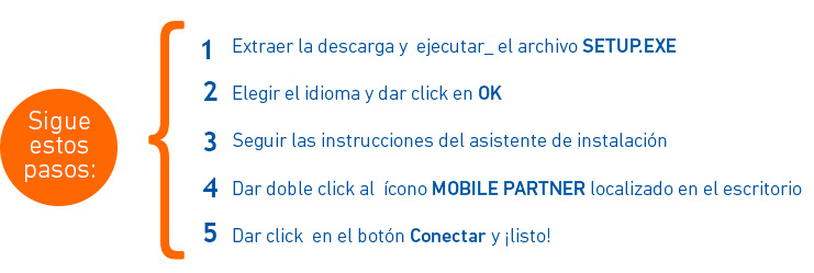 Mobile Partner windows sigue pasos