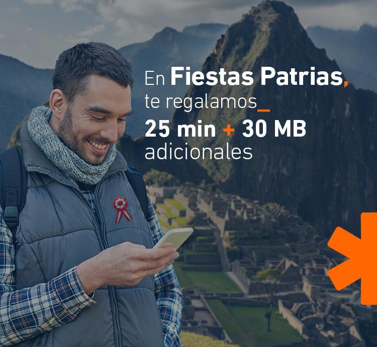 En Fiestas Patrias, te regalamos 25 minutos + 30 MB adicionales