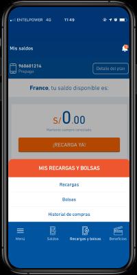 """app Mi entel en la opción """"Recargas"""""""