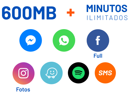 600mb + minutos ilimitados. Messenger, WhatApp, Facebook Full, Instagram, Waze, Spotify, SMS