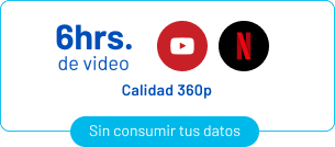 6 horas de video de youtube y netflix (calidad 360p)
