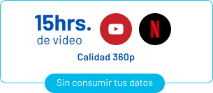 15 horas de video de youtube y netflix (calidad 360p)
