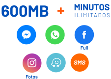 600mb + minutos ilimitados. Messenger, WhatApp, Facebook Full, Instagram, Waze, SMS