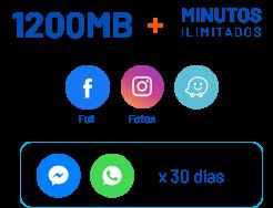 1200mb + minutos ilimitados. Facebook Full, Instagram, Waze, Messenger por 30 días, WhatApp por 30 días