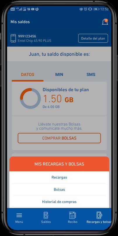 app en la opción Recargas y bolsas