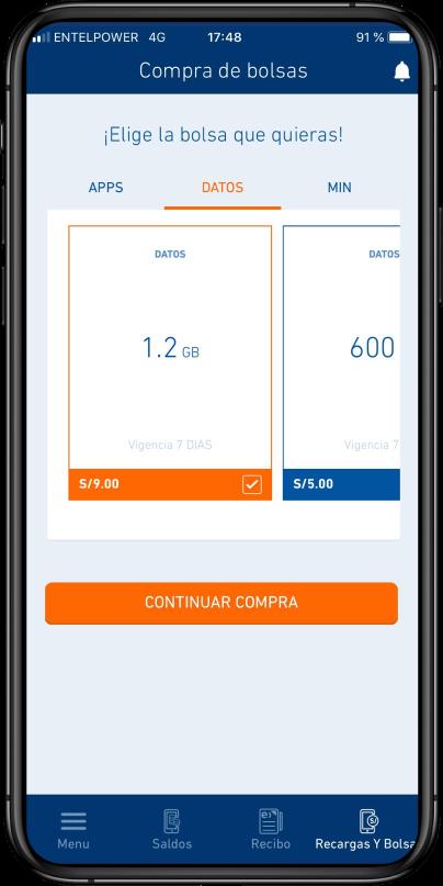 Elige la bolsa de tu preferencia: app, datos, minutos o mensaje