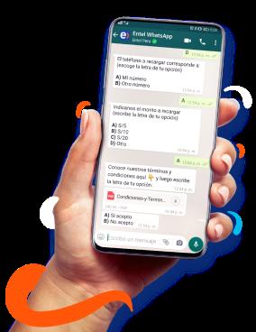 """Whatsapp en la opción """"Recargas"""