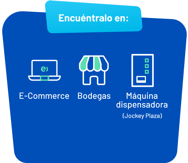 Encuentralo en: e-comerce, bodegas, máquina dispensadora (Jockey PLaza)